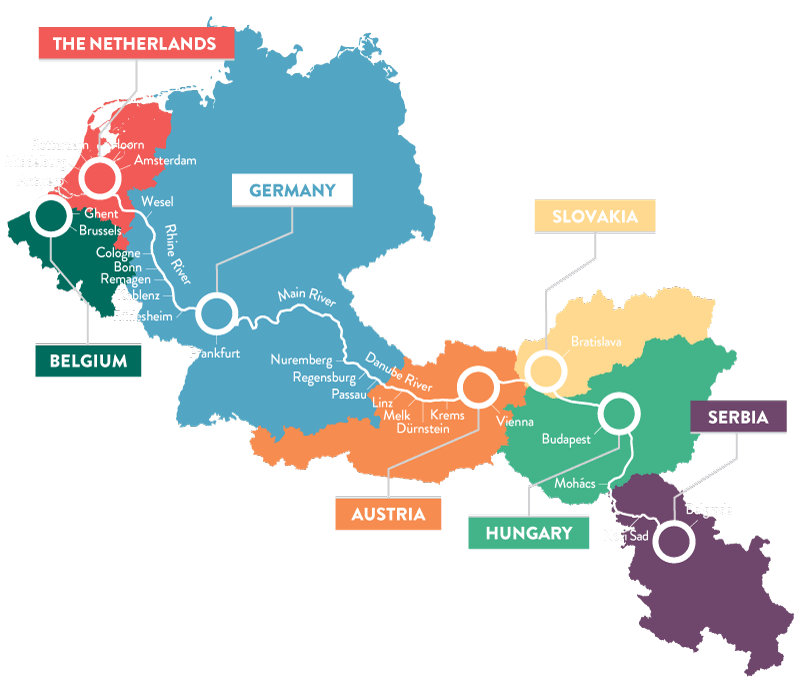 Map of U River Cruises Destinations