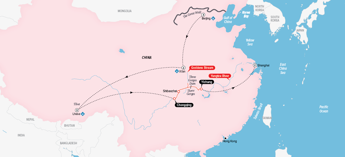 Itinerary map of China, Tibet & the Yangtze 2018