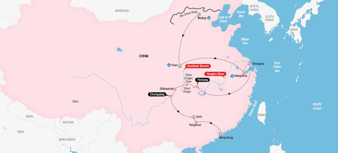 Itinerary map of Grand China and the Yangtze 2018