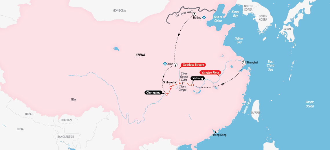Itinerary map of Highlights of China & the Yangtze 2018 (Beijing to Shanghai)