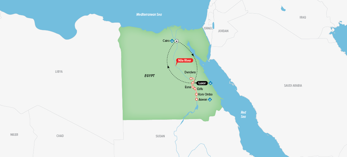 Itinerary map of Splendors of Egypt & the Nile 2018 (Round Trip from cairo)