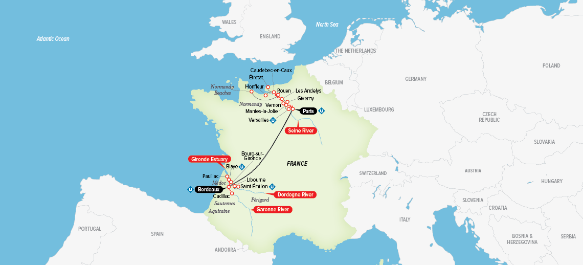 Itinerary map of A Portrait of Majestic France 2018