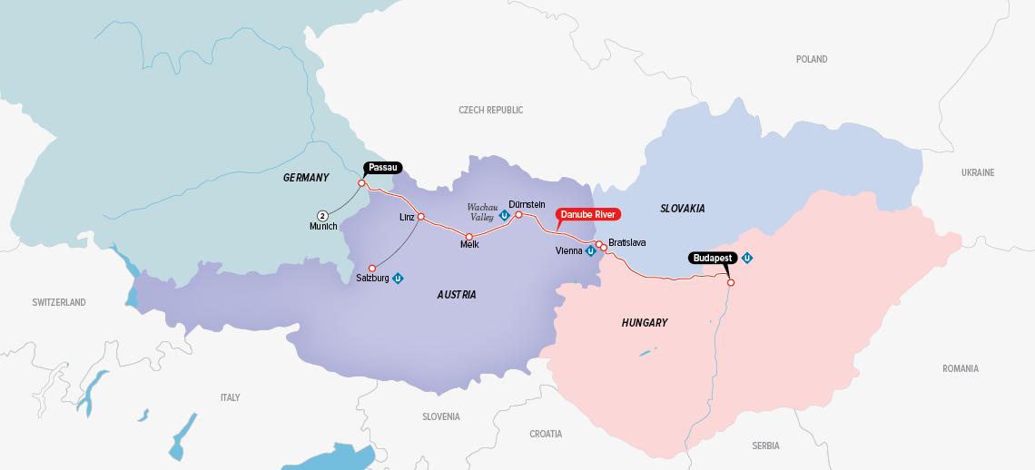 Itinerary map of Enchanting Danube & Munich 2018