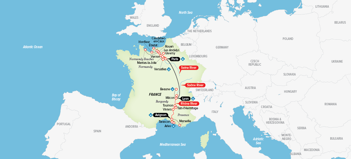 Itinerary map of Grand France 2018 (Paris to Avignon)