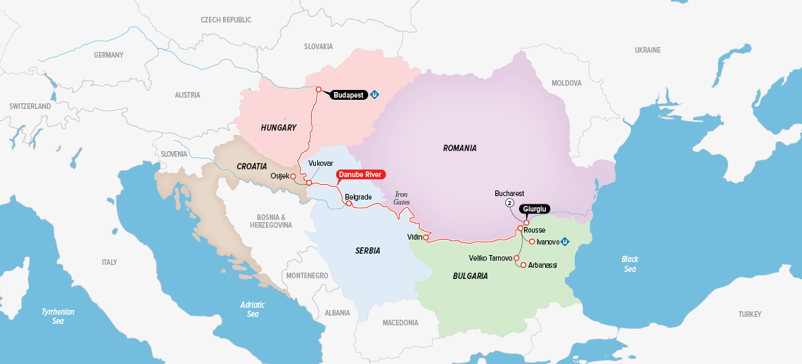 Itinerary map of Highlights of Eastern Europe 2018 (Budapest to Bucharest)