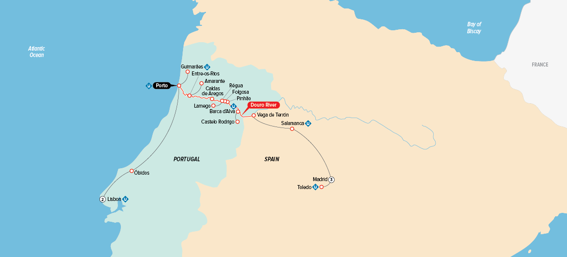 Itinerary map of Jewels of Spain, Portugal & the Douro River 2018 (Madrid to Lisbon)