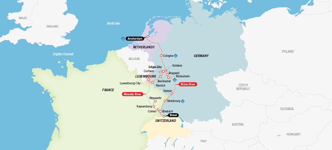 Itinerary map of Legendary Rhine & Moselle 2018