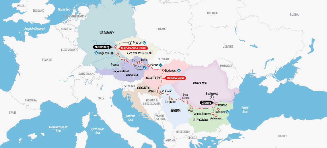 Itinerary map of Portraits of Eastern Europe 2018 (Bucharest to Prague)