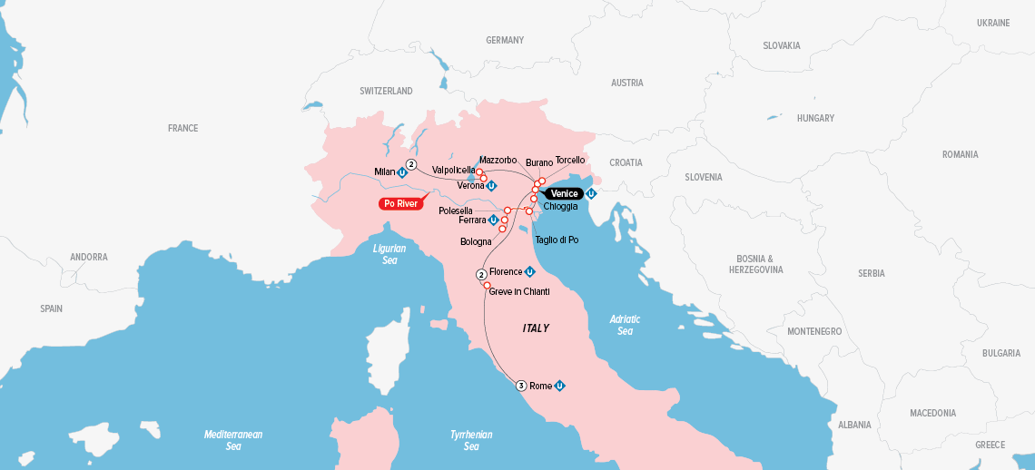 Itinerary map of Splendors of Italy 2018
