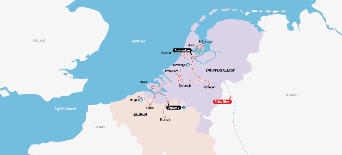 Itinerary map of Tulips & Windmills 2018
