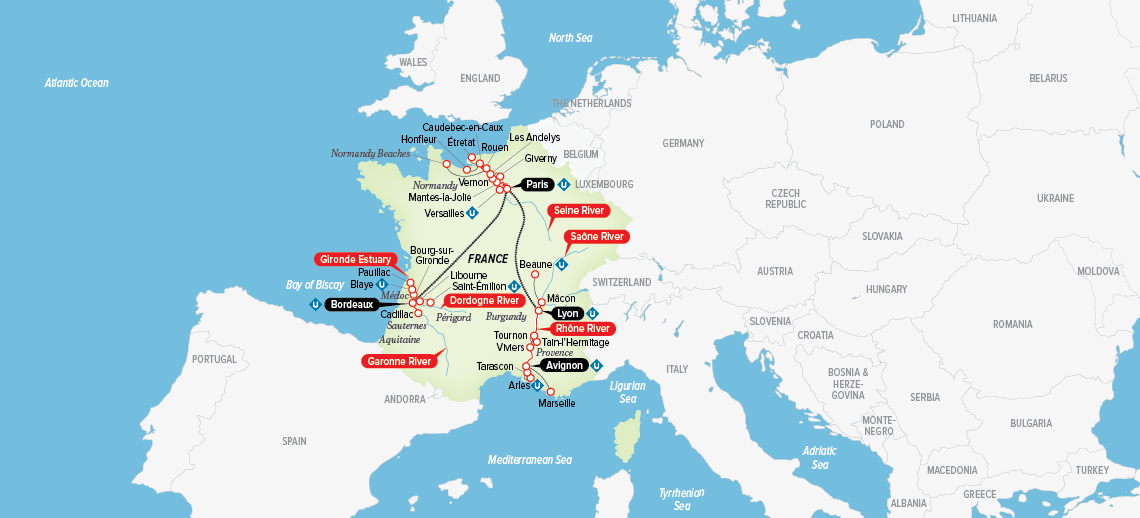 Itinerary map of Ultimate France 2018
