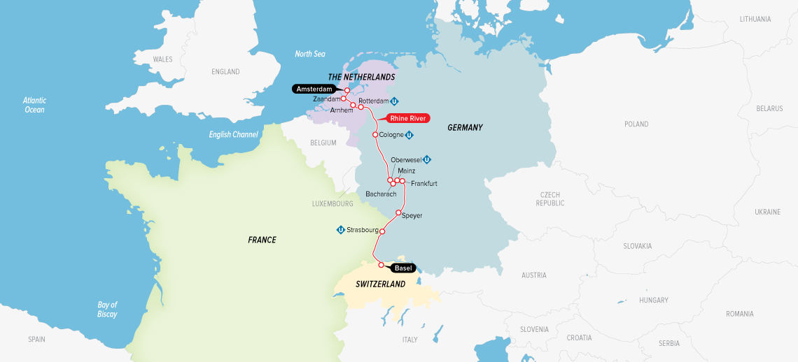 Itinerary map of Remarkable Rhine & Historic Holland 2019