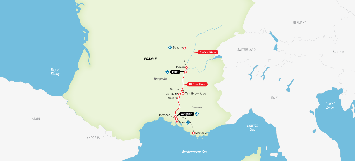 Itinerary map of Burgundy & Provence 2019