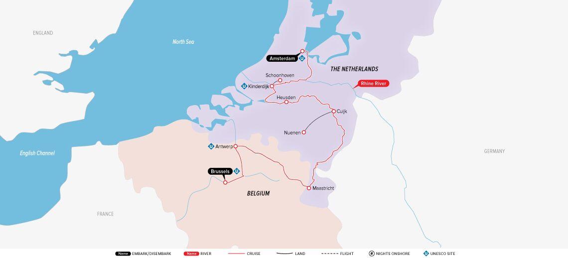 holland-&-belgium-at-tulip-time-map