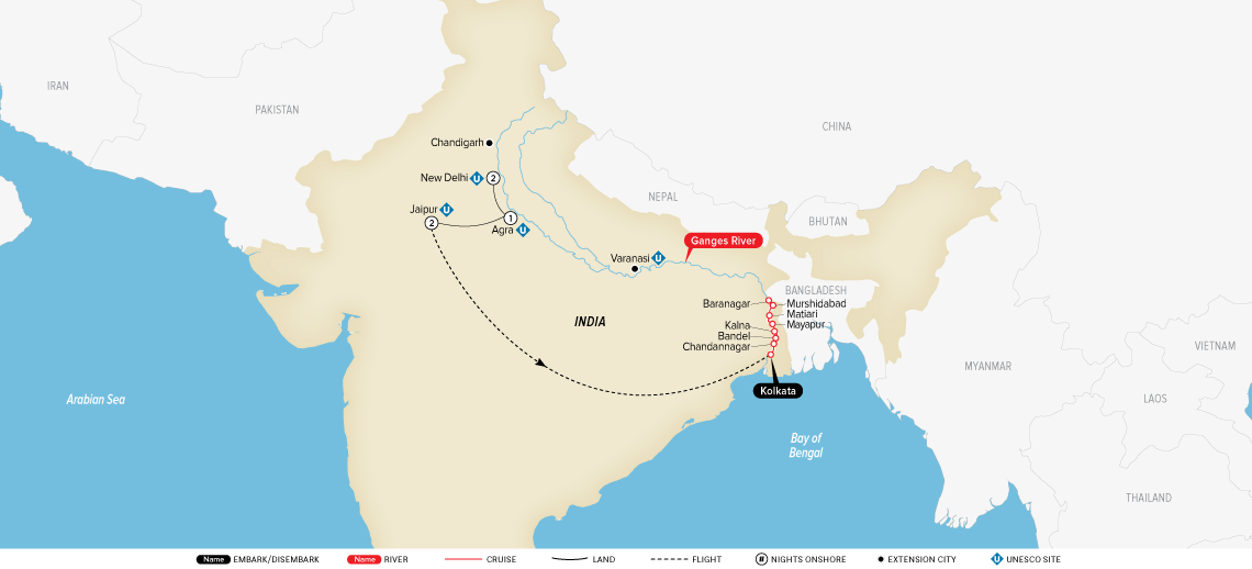 india's-golden-triangle-&-the-sacred-ganges-map