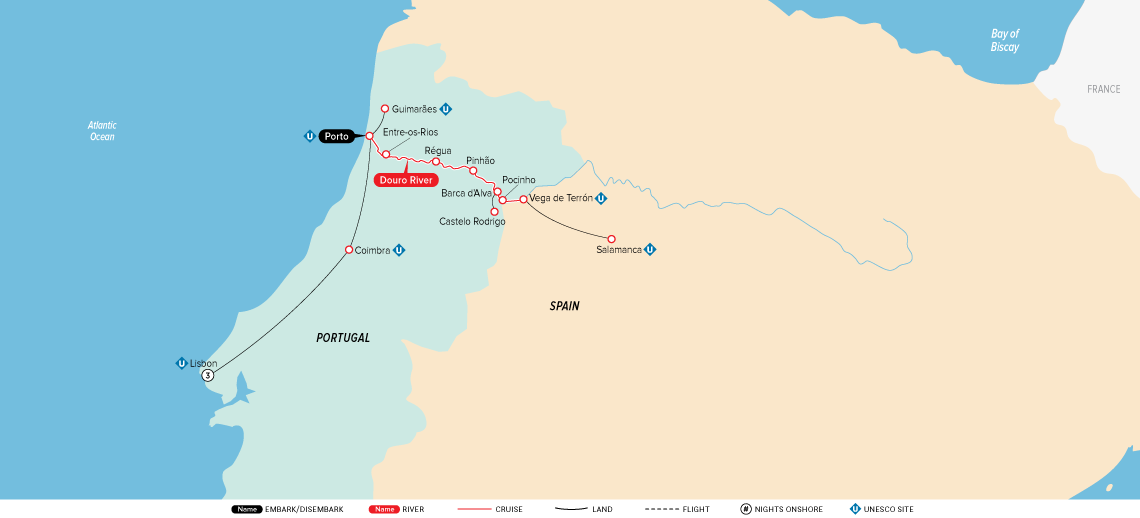 Map Of Spain Portugal And France.Portugal Spain The Douro River Valley 2019 Europe River Cruise